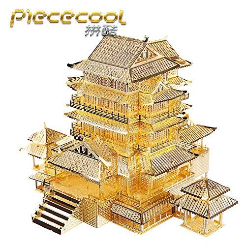 Piececool 3D Metal Puzzle Tengwang Pavilion Building Kits P067-G DIY Laser Cut Model Jigsaw Toys For Audit