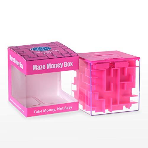 Elfesto Money Maze Puzzle Box 3D Maze Money Credit Card Gift Cube Piggy Bank Money HolderSaving BoxFun Challenging Game Brain Teaser for Kids AdultsTop Money Gifting Puzzle Cube Box Pink