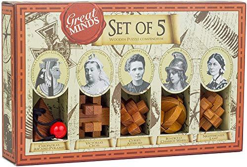 Professor Puzzles Great Minds Brain Teaser Puzzle Set - 5 Piece 3D Wooden Brain Teaser Puzzles - Womens