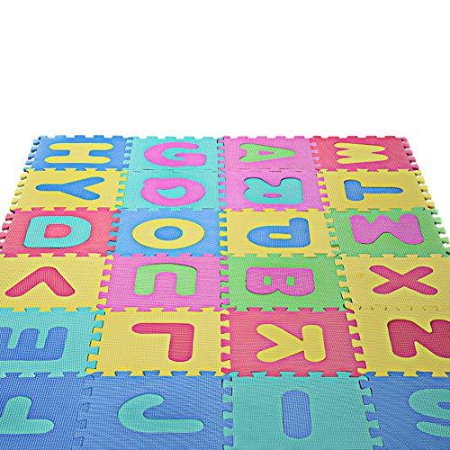 Fescra 26 Pcs Kids Foam Puzzle Floor Play Mat with Alphabets 12x12per