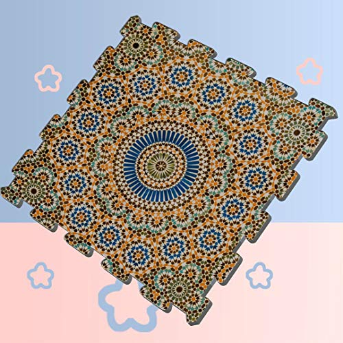 Flowers and Moroccan Tiles Interlocking Foam Tiles for Kids Foam Mat Floor Tiles Interlocking 8 Pieces 60 X 60 X 12cm Foam Puzzle Tiles