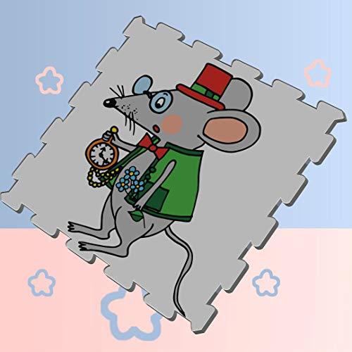 Kawaii Happy Little Cartoon Mouse Puzzle Exercise Mats for Kids Foam Floor Puzzle Mat Soft Protection Mats,16 Tiles 12x12 Foam Interlocking Tiles Outdoor
