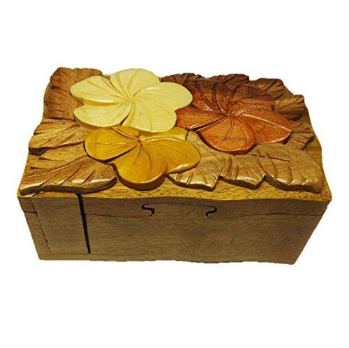 Coastal Wood HC188 Handmade Art Intarsia Big Wooden Puzzle Box - Flower Pansy