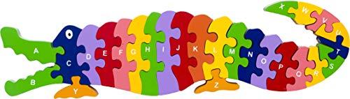Eco-Friendly Wooden Alphabet Puzzle - Crocodile Preschool Kindergarten Ages 3-5