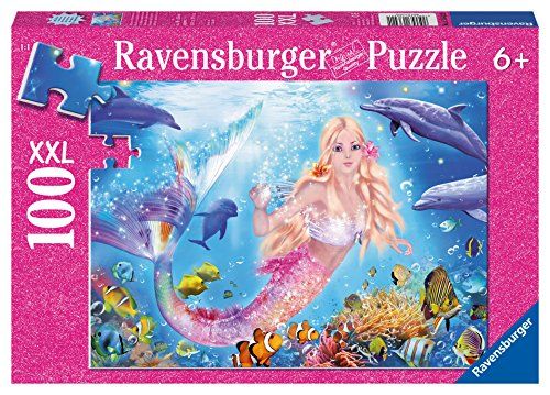 Ravensburger Mermaid and Dolphins Glitter Puzzle 100 Piece