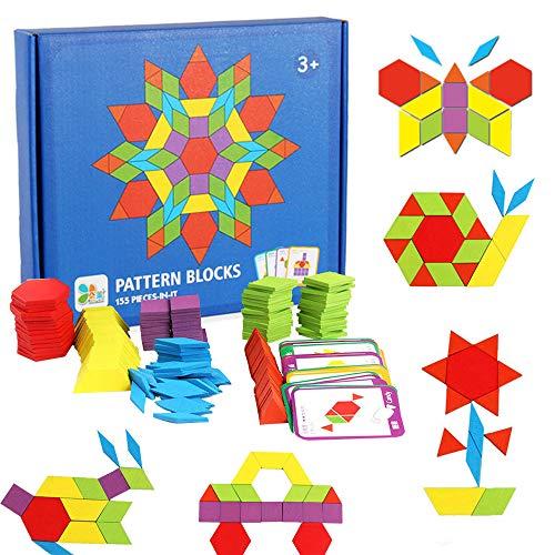 155 Pcs Wooden Pattern Blocks Set Geometric Shape Puzzle Kindergarten Classic Educational Montessori Tangram Toys for Kids Ages 4-8 with 24 Pcs Design Cards