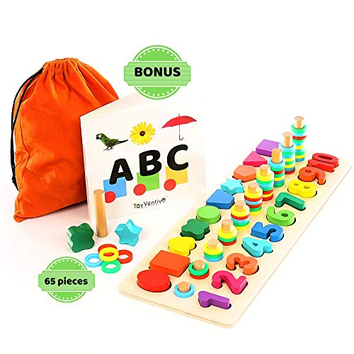 Toyventive Wooden Shapes Number Puzzle - Preschool Educational Toddler Learning Montessori Toys for Toddlers  Wood Puzzles Sorting Toys for Kids  Gifts for 3 4 Year Old Boy and Girl