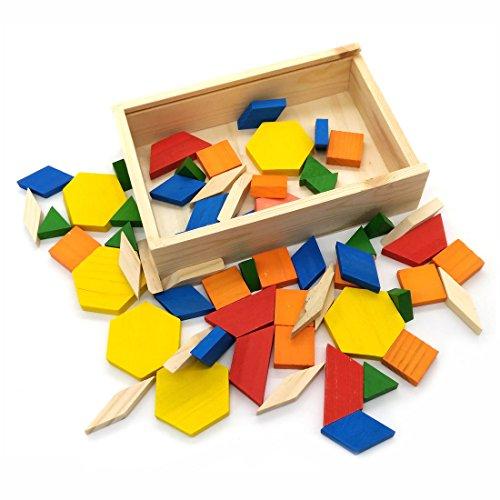 GARASANI Geometric Shapes Wooden Pattern Blocks Tangram Puzzle Toys 60 Pieces