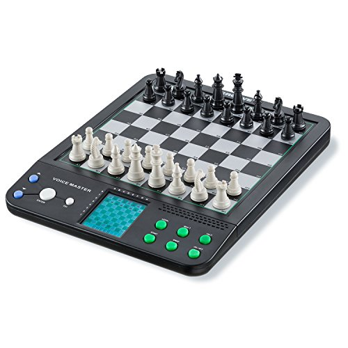 Croove Electronic Chess and Checkers Set with 8-in-1 Board Games for Kids to Learn and Play