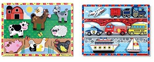 Melissa Doug Farm Wooden Chunky Puzzle 8 pcs With Melissa Doug Vehicles Wooden Chunky Puzzle - Plane Train Cars and Boats 9 pcs