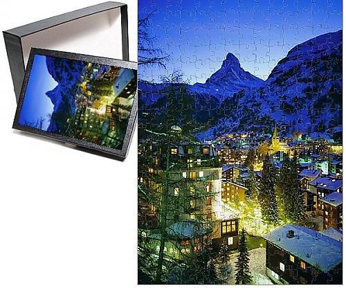 Photo Jigsaw Puzzle of Zermatt and the Matterhorn mountain in winter