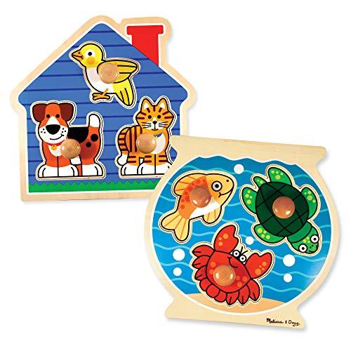 Melissa Doug Animals Jumbo Knob Wooden Puzzles Set - Fish and Pets