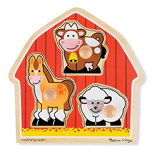 Melissa Doug Barnyard Animals Jumbo Knob Wooden Puzzle - Horse Cow and Sheep