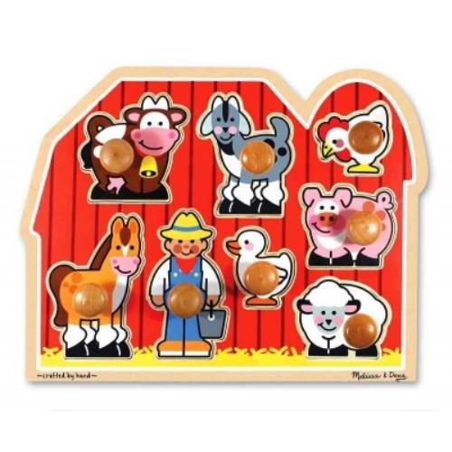 Melissa Doug Large Farm Jumbo Knob Jumbo Knob Puzzle