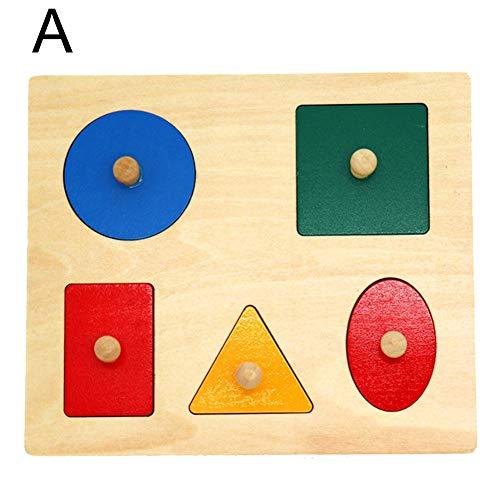 khkadiwb ToysRepair Tool Puzzles Magic Cubes Montessori Wood Knob Puzzle Peg Board Geometric Shape Match Baby Educational Toy - A Non-Toxic Intelligent Development Gift