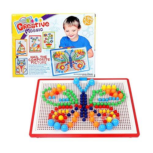 Mallya 296pcs Intelligence Learning Education Board Building Bricks Blocks Jigsaw Puzzle Colorful Mushroom Nails Pegboard Game Toys Set