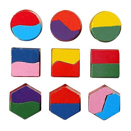 Boomerre Wooden Preschool Geometry Shape Puzzle Style C