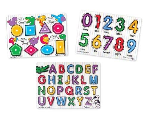 4 Item Bundle Melissa Doug 3-Pack Peg Puzzle Combo See-Inside Alphabet Number Shapes Peg Puzzles  Free Activity Book