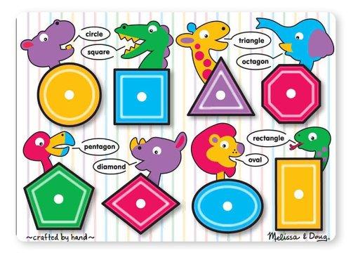 Melissa Doug Shapes Wooden Peg Puzzle 8 pcs