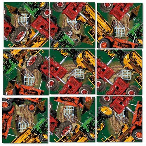 B Dazzle Vintage Tractors Scramble Squares 9 Piece Puzzle
