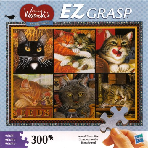 CHARLES WYSOCKIs AMERICANA PUZZLE Cat Collage EZ GRASP 300 Piece Puzzle