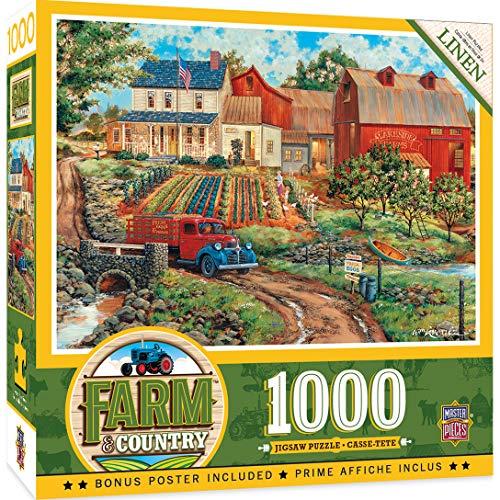 MasterPieces Farm Country Linen Jigsaw Puzzle Grandmas Garden Featuring Art by William Kreutz 1000 Pieces