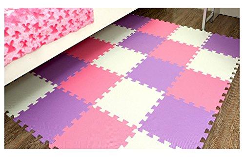 Menu Life 10-tile Purple White Pink Exercise Mat Soft Foam EVA Playmat Kids Safety Play Floor Puzzle Playmat Tiles