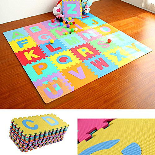 Alphabet and Numbers Foam Puzzle Play Mat 36 Tiles Each Tile Measures 61 X 61 Floor Play Mat Baby Room Jigsaw ABC Foam Puzzle Educational Developmental Toy for Kids Toddlers Babies