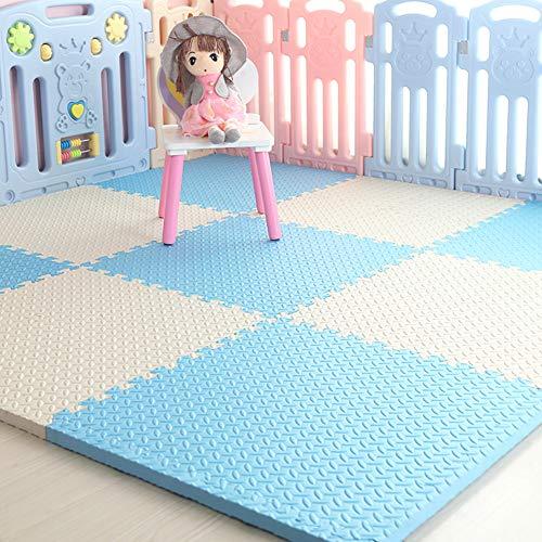 HOMRanger Solid Color Interlocking CarpetLarge Kids Puzzle Exercise Foam Crawling Play Mat Puzzle Rug for Hard Floor Bedroom A 606025cm4 Pcs