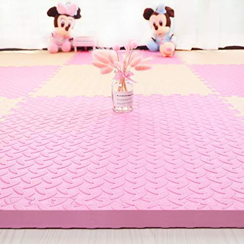 HOMRanger Solid Color Interlocking CarpetLarge Kids Puzzle Exercise Foam Crawling Play Mat Puzzle Rug for Tiles Living Room B 303025cm16 Pcs