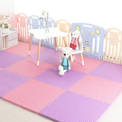 HOMRanger Solid Color Interlocking CarpetLarge Kids Puzzle Exercise Foam Crawling Play Mat Puzzle Rug for Tiles Living Room D 606025cm6 Pcs