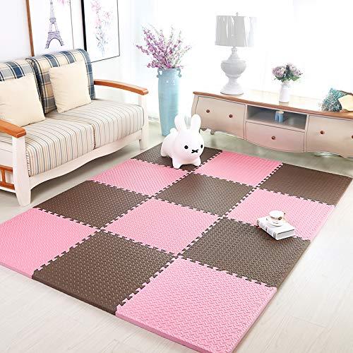 HOMRanger Solid Color Interlocking CarpetLarge Kids Puzzle Exercise Foam Crawling Play Mat Puzzle Rug for Tiles Living Room E 606025cm12 Pcs