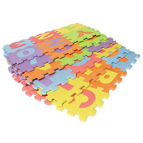 EVA Educational Toddler Puzzle Play Foam Mat Interlocking Alphabet Number - 36 interlocking Foam Tiles 6 by 6 Each block
