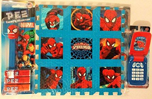 Spiderman Pez - Flip Phone - Play Foam Mat Bundle