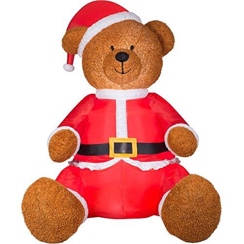 Airblown Inflatable Christmas Teddy Bear with Santa Outfit - 9 Feet