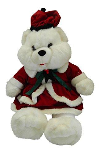 Christmas Teddy Bear Girl Red Velvet Dress Dressed 21 Plush White