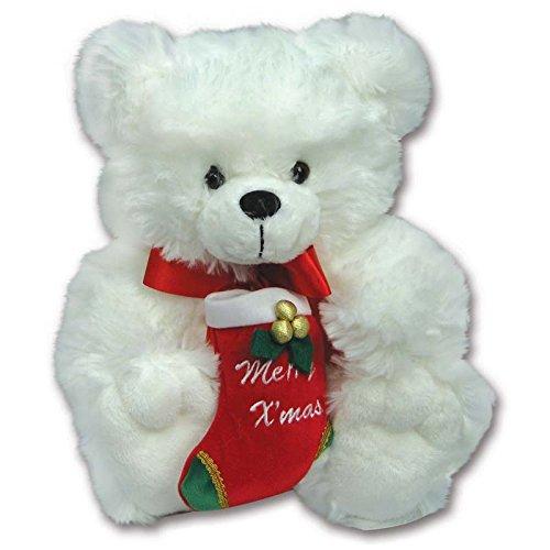 White 10 Plush Christmas Teddy Bear Holding Merry Christmas Stocking