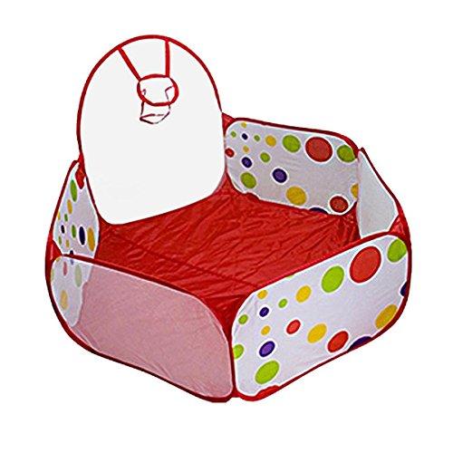 Mochiglory Kids Play Tent Hexagon Folding Polka Dot Ocean Ball Playpen Pool with Basketball Zippered Bag Indoor Outdoor