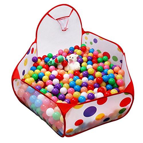 QIYOTM Foldable Ball Pit Hexagon Polka Dot Play Tent with Basketball Hoop Inddor and Outdoor Balls Pool for Babies No Balls