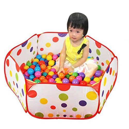 GOTD Play Tent Hoop 12m Extra Large Portable Foldable Cute Polka Dot Kids Playpen Ball Pit Pool Indoor and Outdoor with Play House Children for Kids Gifts without 50 dolls