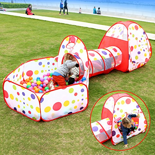EocuSun Polka Dot 3 in 1 Folding Kids Play Tent with Tunnel Ball Pit and Zippered Storage Bag