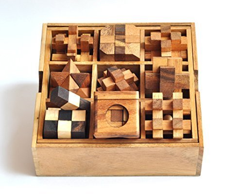 9 Puzzle Set  Games Puzzles Wooden Puzzle Box Set Great Christmas Gift