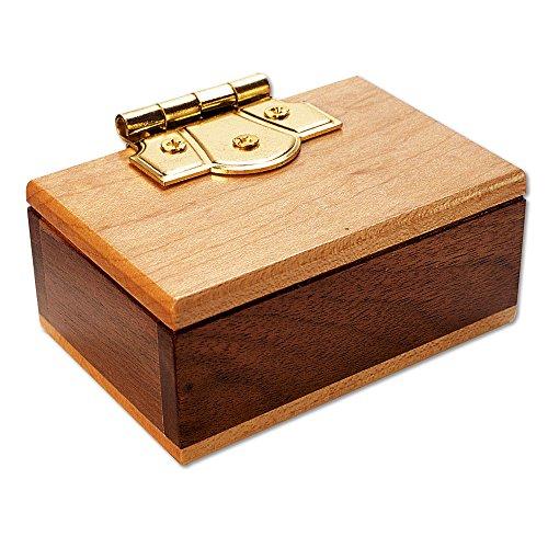 Bits and Pieces - The Mini Secret Box Brainteaser Puzzle - Wooden Maple and Walnut Hinged Money Puzzle Box - Doug Engel Brainteaser Measures 3-14 x 2-14 x 1-12