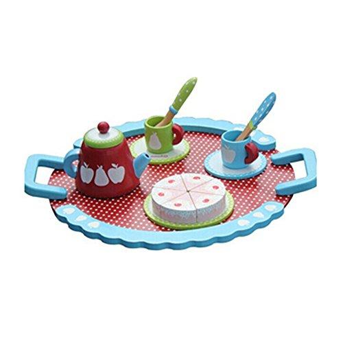 Kids Wooden Toy Food Pretend Play Food Mini Afternoon Tea Set