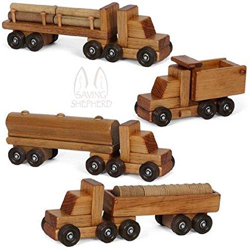 Set of Four 4 Wooden Toy Trucks Log Barrel Dump Tanker USA Handmade Wood