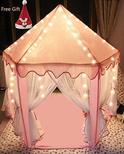 Sherosa Kids Indoor Princess Castle Play Tent Children Playhouse with Led Star Lights - Perfect Birthday Gift Presents For Childs Toddlers Pink