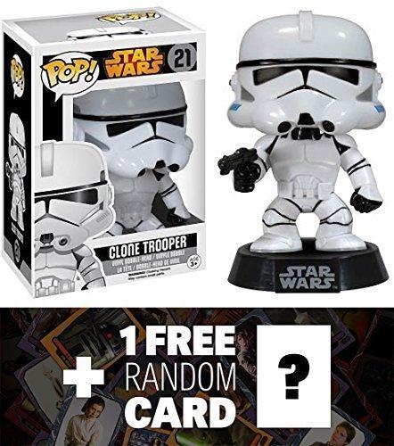 Clone Trooper Funko POP x Star Wars Vinyl Bobble-Head Figure w Stand  1 FREE Official Star Wars Trading Card Bundle 60381