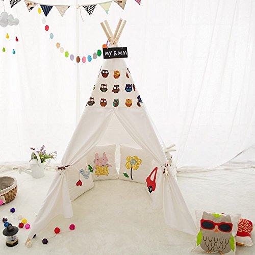 LoveTree Portable Kids Cotton Canvas Tee Pee Tent Indina Playhouse - Owl Printed Style