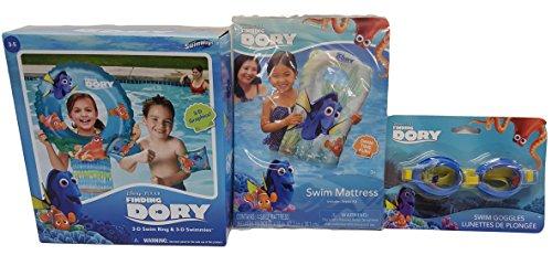 Finding Dory Pool Fun Swim Goggles 3D Swim Ring with 3D Swimmies and Swim Mattress 3 Piece Bundle