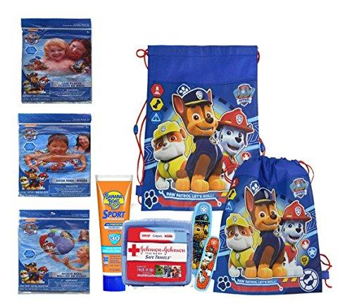 Safety First Paw Patrol 6pc Grab Go Summer Fun Pool Bag Swim Ring Floaties Beach Ball Plus Paw Patrol First Aid Kit Sunscreen